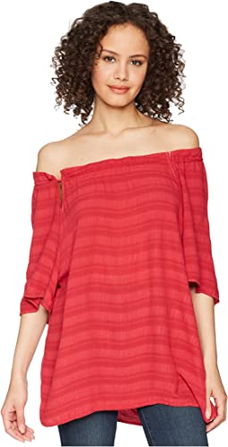 Plissé Front-To-Back Tie Neck Top