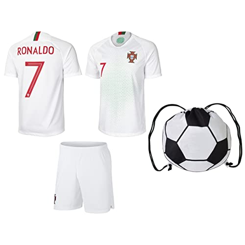 prtfc Cristiano Ronaldo Portugal  7 Away Kids Soccer Jersey and Shorts World  Cup Kit All 8e97b4894