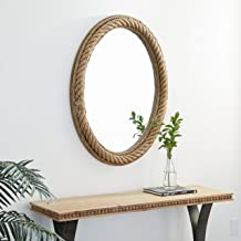 Deco 79 Brown Natural Rope Wall Mirror, 40 x 30