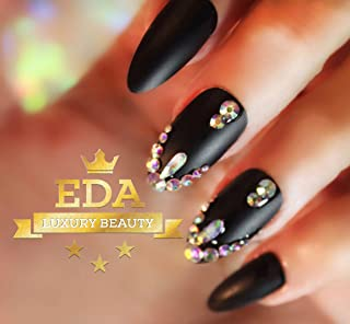 EDA Luxury Beauty Matte Black 3D Ultimate Glamorous Jewel Design Gel Glitter Full Cover Press On Artificial Tips Perfect False Nails Extra Long Oval Round Almond Stiletto Super Glam Fashion Fake Nails