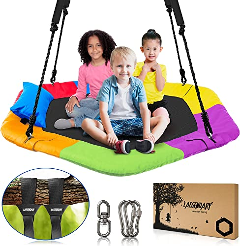 popular 40 Inch Flying Saucer Tree Swing for Kids - Indoor Outdoor Swingset Toys outlet sale - 700 Lbs Sensory Web Tire Swings - Durable Frame, Waterproof Yard Swings 2021 Set - 2 Tree Straps, 2 Carabiners, 1 Swivel online