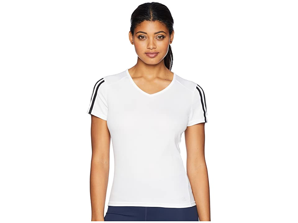 adidas 3-Stripes Run Tee (White/Black) Women