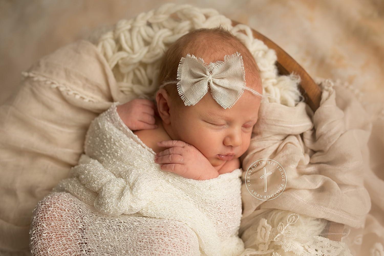 Ivory Mohair Tieback Headband, Photography Prop, Newborn, Toddler, Child, Adult (Linen Bow)