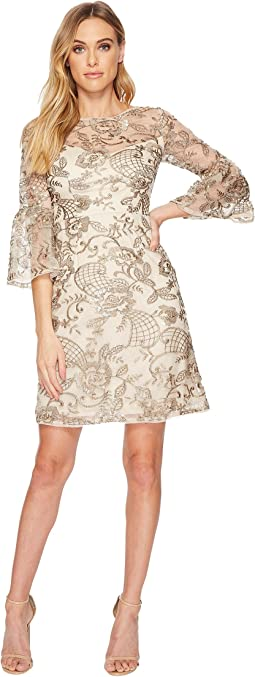 Adrianna Papell - Sequin Embroidered Cocktail Dress with Sleeve Detail