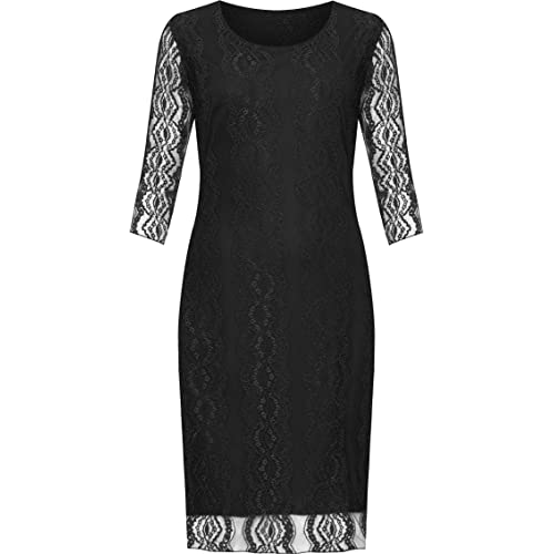 NEW WOMENS PLUSE SIZE LACE FLORAL LINED 3//4SLEEVE KNEE LENGTH LADIES DRESS 14-28
