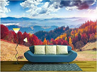 wall26 - Colorful Autumn Landscape in The Mountain Village - Removable Wall Mural | Self-Adhesive Large Wallpaper - 66x96 inches