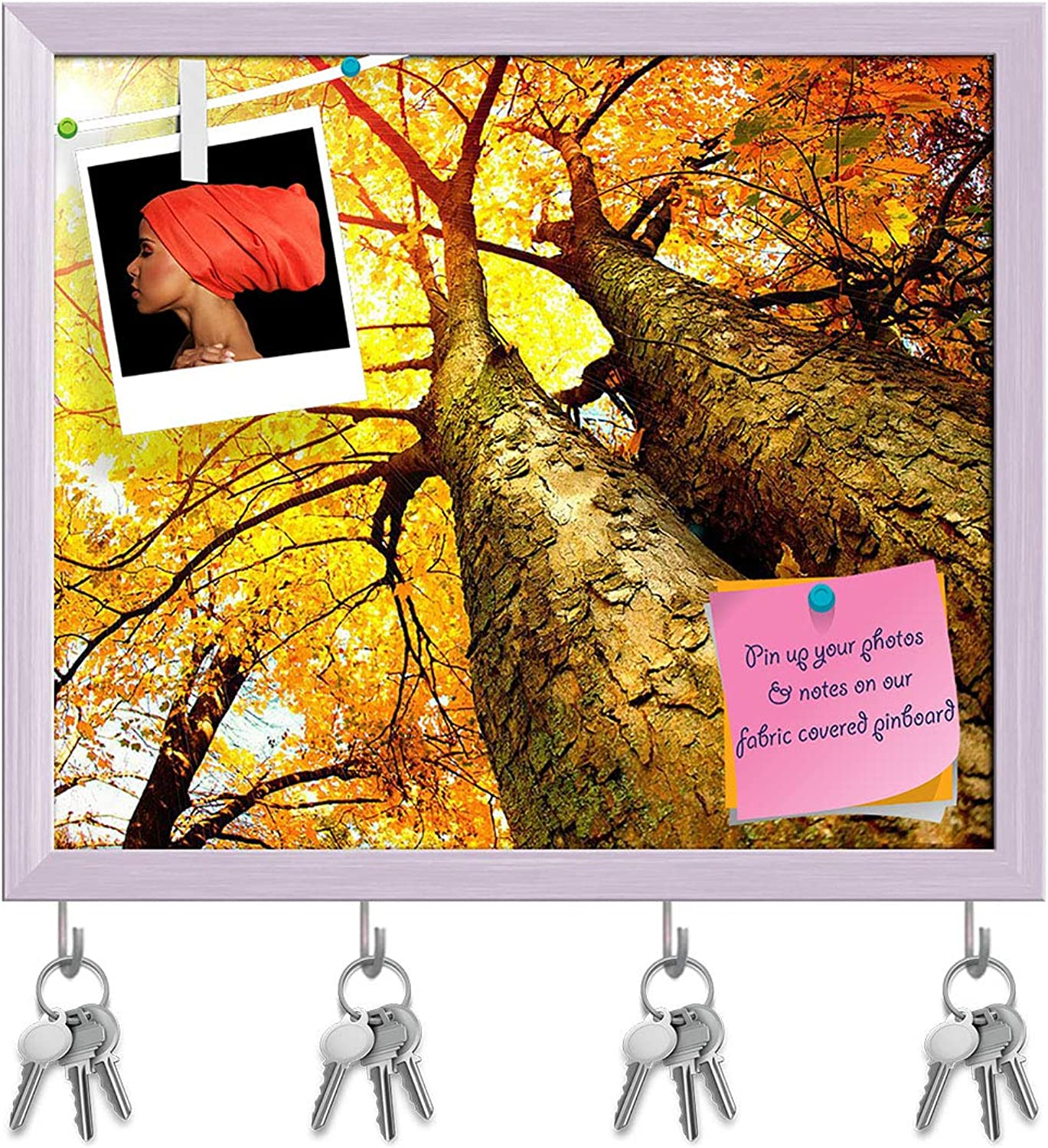 Artzfolio Autumn Trees Fall Key Holder Hooks   Notice Pin Board   White Frame 18.7 X 16Inch