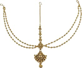 MUCH-MORE Gorgeous Style Stunning Gold Plated Kundan Stone Indian Matha Patti Head Partywear Jewelry For Women