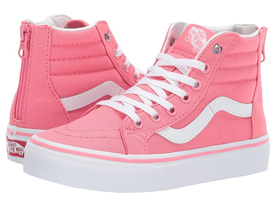 Vans Kids Sk8-Hi Zip (Little Kid/Big Kid) ((Heart Eyelet) Strawberry Pink/True White) Girls Shoes