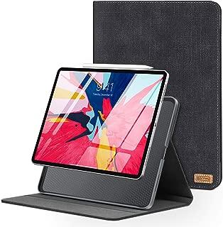 TORRAS Denim-Like iPad Pro 12.9 case 2018, Slim fit Folio New Black Leather iPad Cover Protective Hard iPad Pro Case for iPad Pro 3rd Generation [Auto Sleep/Wake] [iPad Pencil Charging]