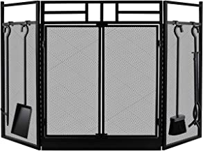 Fireplace Screen with Doors Large Flat Guard Fire Screens With Fireplace Tools Outdoor Metal Decorative Mesh Solid Baby Safe Proof Wrought Iron Fire Place Panels Wood Burning Stove Accessories Black