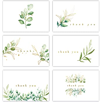 Gooji 4x6 Golden Greenery Thank You Cards (Bulk 36-Pack) Matching Peel-and-Seal White Envelopes | Assorted Set, Watercolor, Colorful Graphics | Birthday Party, Baby Shower, Weddings