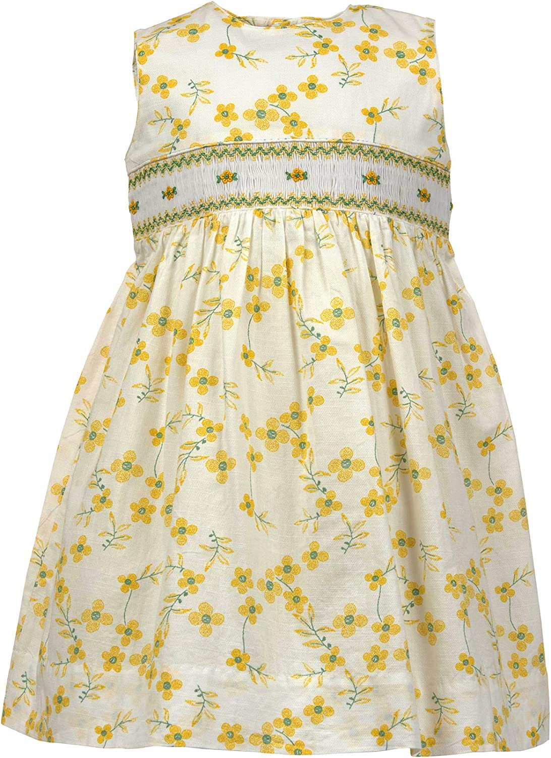 Girls Dress Yellow Floral Sleeveless Dress with Hand Smocking