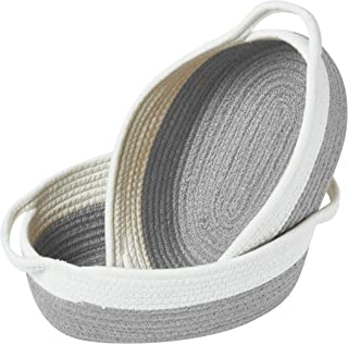 DECOMOMO Cotton Rope Baskets Woven Foldable Storage Bin with Handles | Great for Nursery/Toys/Stationary/Makeup/Kitchen (G...