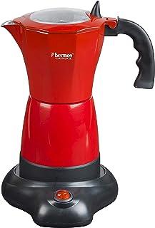 Bestron Cafetière italienne électrique avec socle, Viva Italia, Pour 6 tasses à espresso : 180 ml, 480 W, Aluminium, Rouge