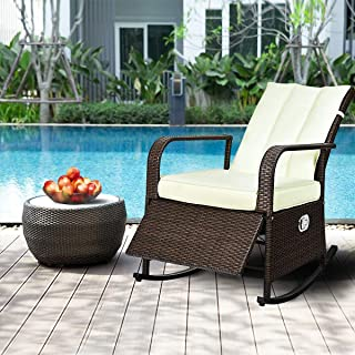 Taltintoo20 Patio Wicker Porch Garden Lawn Reclining Rocking Chair, Size 32 inch x 24.5 inch x 37.5 inch, Weight Capacity 264 Pound, Ideal Choice for Patios, Porches, Poolside and Gardens Dark Brown