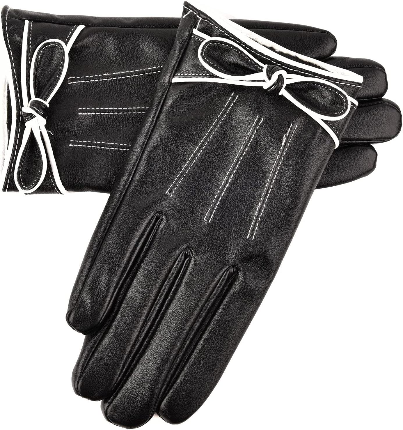 HJKHNK Imitation Leather Warm Gloves, Bow Wrist Decoration Non-Slip and Durable Soft, Comfortable, and Resistant, Too Cold Suitable for Autumn and Winter Sports Riding Gloves for Women,Black