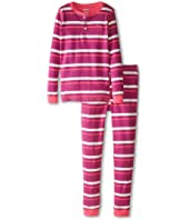 Hatley Kids - Rose Orchid Stripes Henley PJ Set (Toddler/Little Kids/Big Kids)