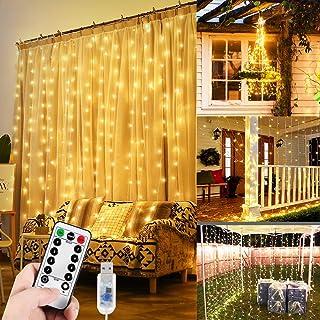 WEARXI Łańcuch świetlny z zasłoną świetlną – 300 diod LED, łańcuch świetlny 3 m, 8 trybów świecenia do sypialni, wisząca l...