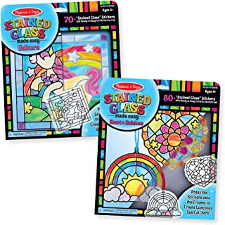Melissa & Doug Stained Glass Made Easy Peel & Press 2 Pack - Rainbow & Heart Ornaments