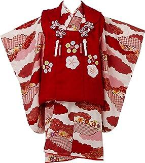七五三 着物 3歳 被布セット 正絹 女の子 絞り赤梅 赤の着物 赤の被布コート 刺繍 梅 フルセット 3400-01551