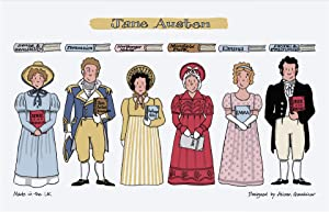Alison Gardiner - Jane Austen Characters and Books 100% Cotton Tea Towel/Dish Cloth Kitchen Towel - Made in England