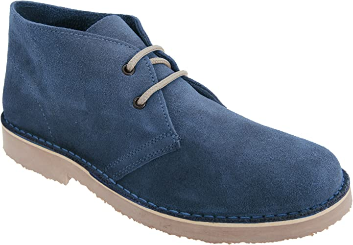 Mens Slim Toe Dark Brown Nubuck Leather Desert Boots By Roamers UK 7-12