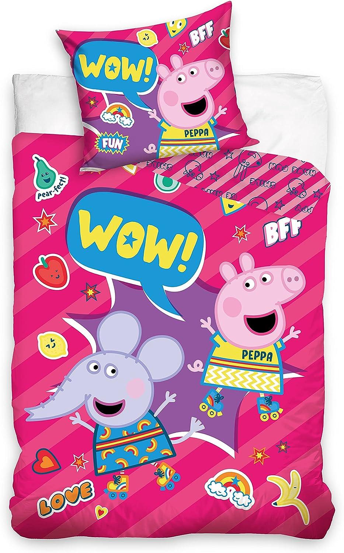 Ropa de cama infantil, 160 x 200 cm y 70 x 80 cm, diseño de Peppa Pig