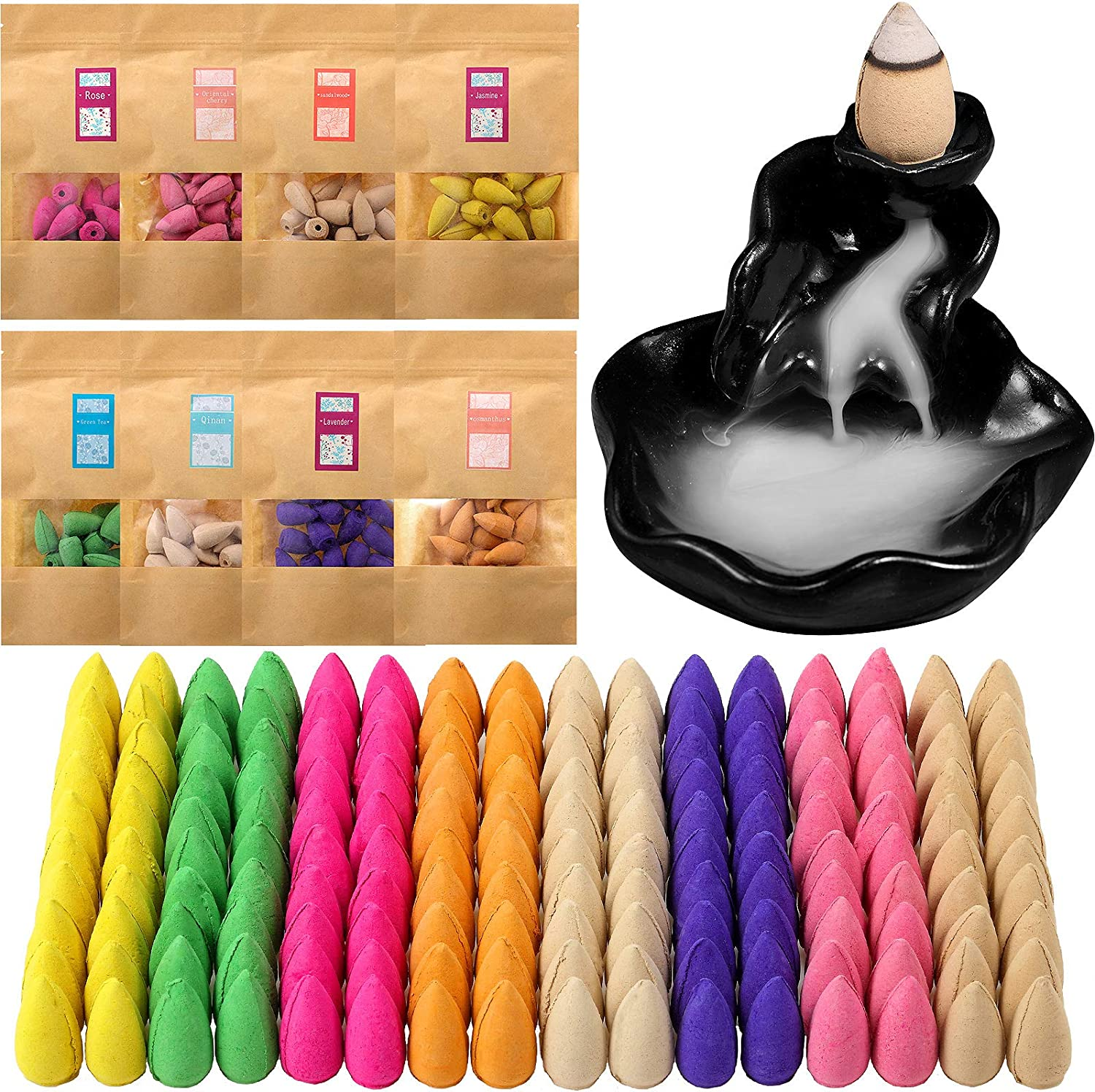 160 Pieces 8 Various Incense Backflow Incense Cones Scents Incense Burner with 1 Piece Ceramic Waterfall Incense Holder for Home Office Meditation Yoga Relaxation