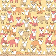 David Textiles Fox Crowd Blizzard Fleece 60'' Yellow Fabric