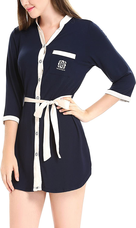 N NORA TWIPS Women's Boyfriend Sexy Sleep Shirt Short Sleeve Sleep Pajama Dark bluee