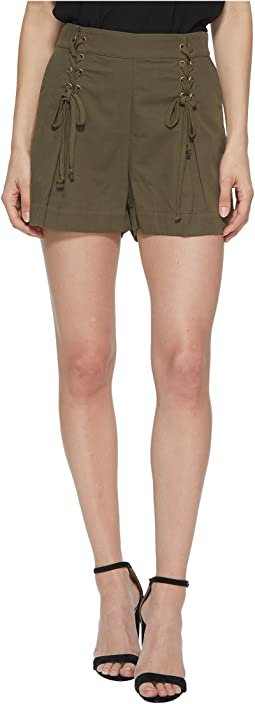 Flat Front Shorts w/ Lace-Up Waist Detail