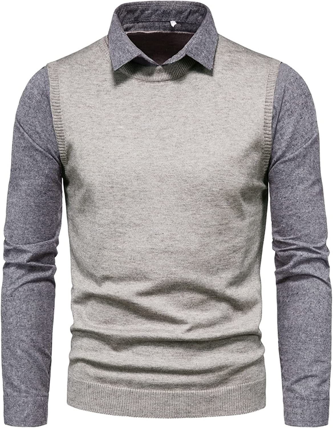 EverNight Men's Fake Two-Piece Sweater,Long Sleeve Regular Fit Knitwear,Turndown Collar Comfortable Business Casual Pullover