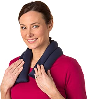 Sunny Bay Extra Long Wrap for Neck and Shoulder, Heat Therapy Pad for Sore Neck & Shoulder Muscle Pain Relief- Thermal, Reusable, Non-Electric Hot Pack or Cold Compress Microwavable, Navy Blue 2 Lines