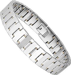 Entrancing Men's Bracelet – Interlocking Track Link Design – Radiant Silver Finish – Scratch & Tarnish Resistant Solid Tun...