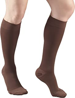 Truform 20-30 mmHg Compression Stockings for Men and Women, Knee High Length, Closed Toe, Brown, Large