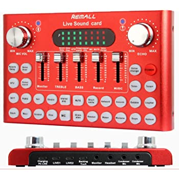 REMALL Bluetooth Live Sound Card Voice Changer, Audio DJ Mixer, Multiple Sound Effects Audio Box for Mobile Phone Computer Game iPad Live Streaming Karaoke Broadcast Recording (V10 Red Upgraded))