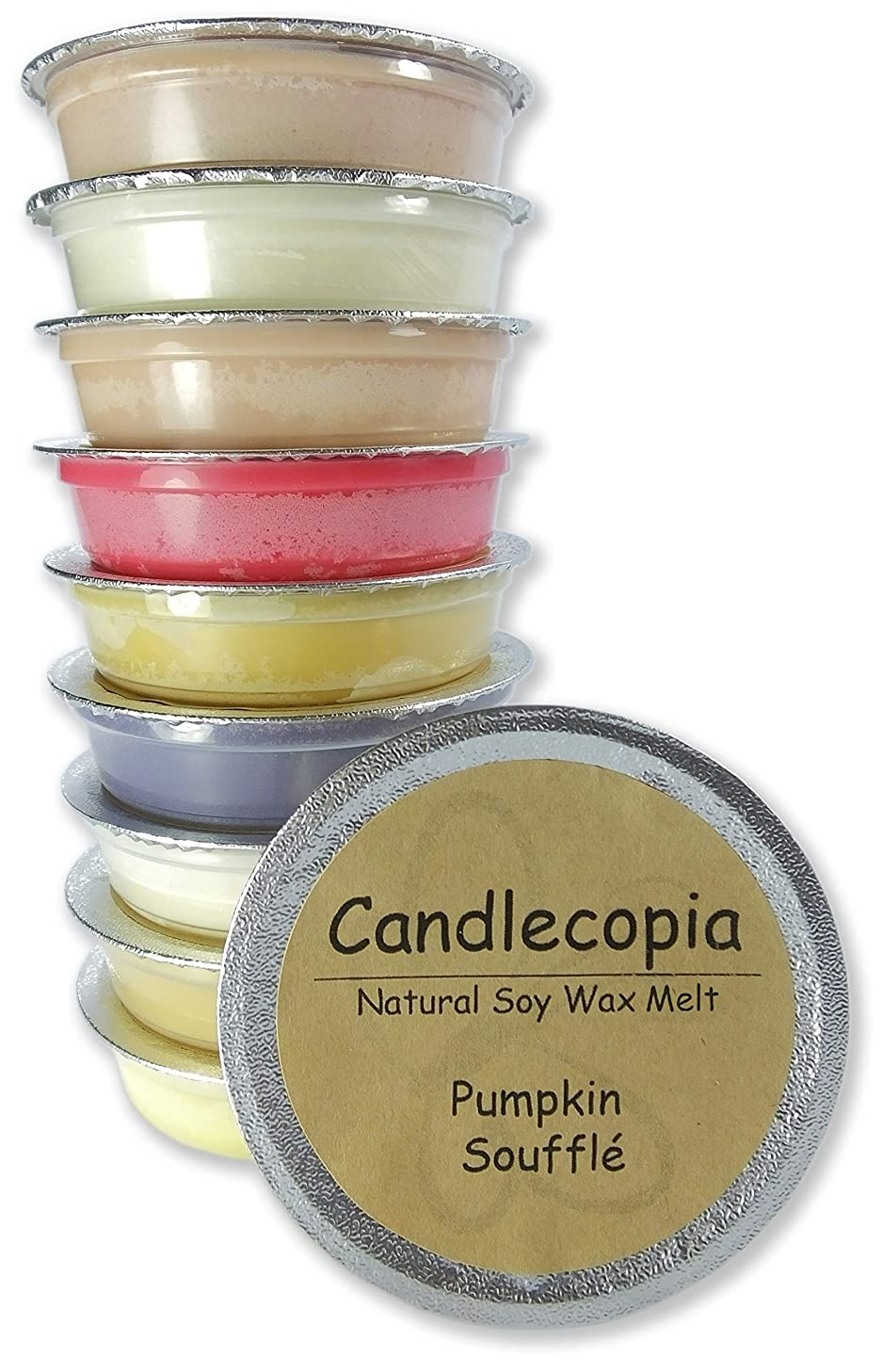 Candlecopia Vanilla Hazelnut, Pumpkin Soufflé, Seriously Cinnamon, Baked Apple Pie and More! Strongly Scented Hand Poured Premium Natural Soy Wax Melt Cups, 12.5 Ounces in 10 x 1.25 Ounce Sealed Cups