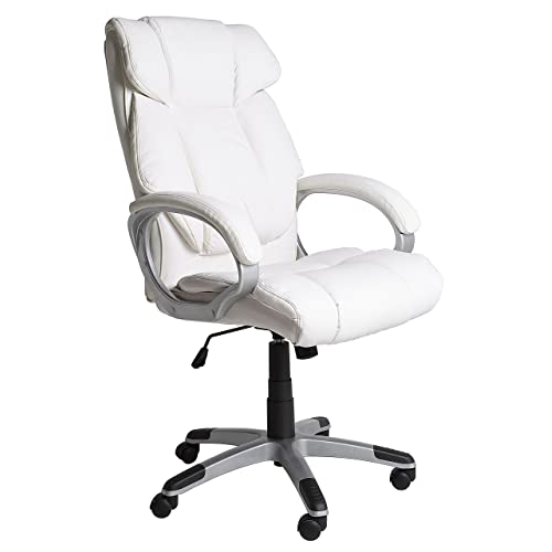 VS Venta Stock Chaise De Bureau Confort Elevable Et Fauteuil Inclinable En Simili Cuir Blanc