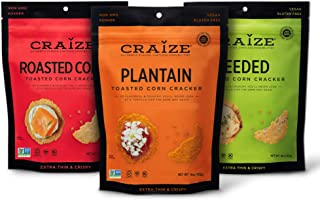 Craize Thin & Crunchy Toasted Corn Crackers – Savory Pack Flavored Healthy & Organic Gluten Free Crackers - 3 Pack, 4 Ounc...