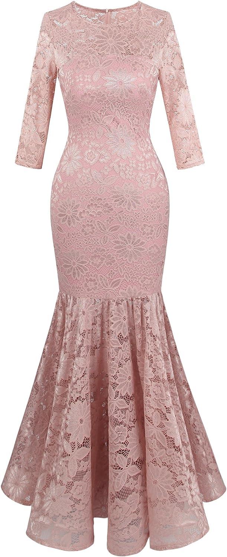 Angel-fashions Women's Floral Lace 3/4 Sleeve Mermaid Bodycon Wedding Dress
