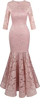 Women's Floral Lace 3/4 Sleeve Mermaid Bodycon Wedding Dress