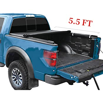 6.5 FT MOSTPLUS Quad 4-Fold Soft Folding Truck Bed Tonneau Cover Compatible for 2015-2020 FORD F150 F-150 Bed Fourth Fold Styleside