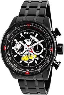 Men's Disney Limited Edition Quartz Watch with Stainless Steel Strap, Black, 24 (Model: 26743)
