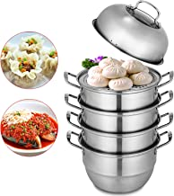 VEVOR Dumpling Steamer Stainless Steel 5 Titer for for Cook Soup, Noodles, Fishes Work with Gas Electric Grill Stove Top, Dia 30cm/11.8inch, Pot