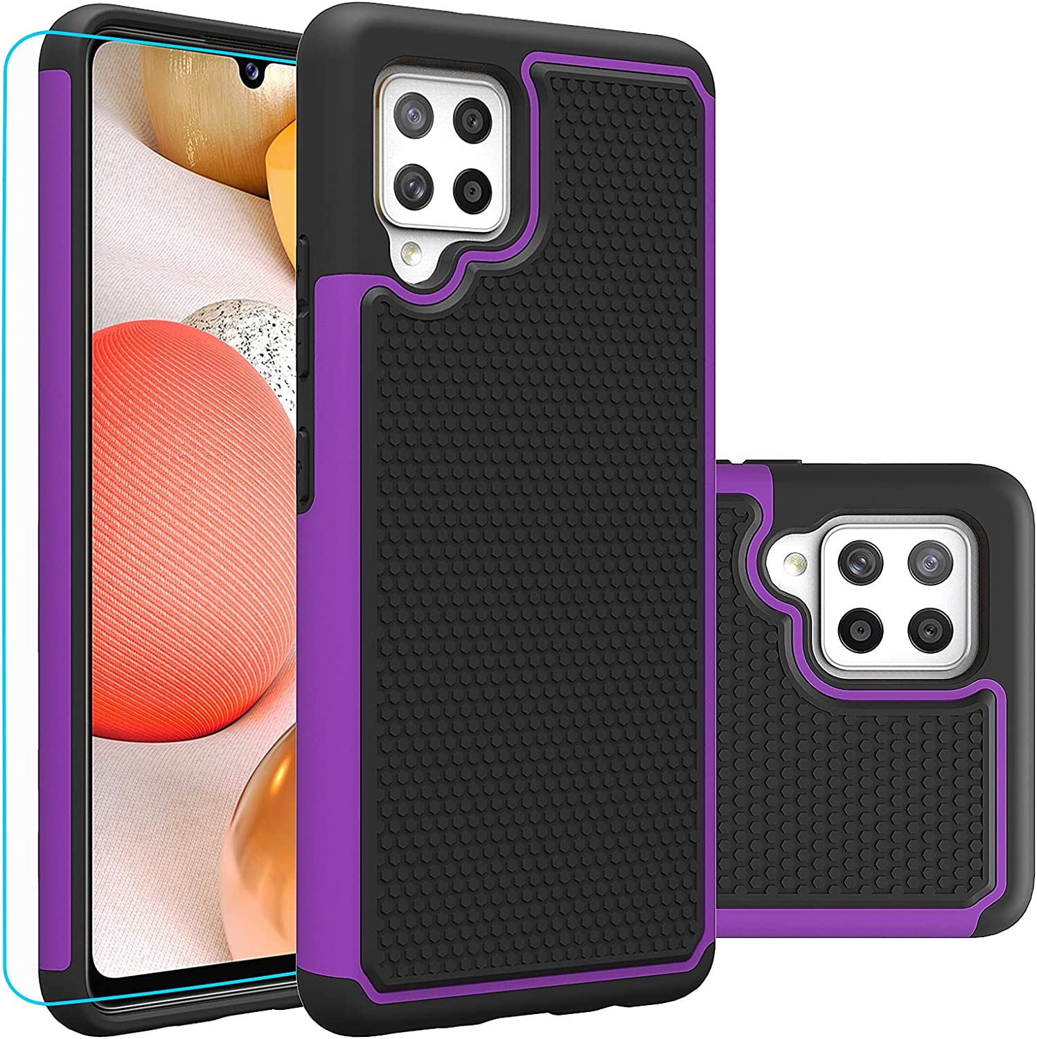 Samsung A42 5G Case, Galaxy A42 5G Case, with HD Screen Protector,Giner Dual Layer Heavy-Duty Military-Grade Armor Defender Protective Phone Case Cover for Samsung Galaxy A42 5G (Purple Armor)