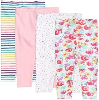 The Honest Company Baby Girls' 4-Pack Organic Cotton Leggings, Rose Blossom, Preemie