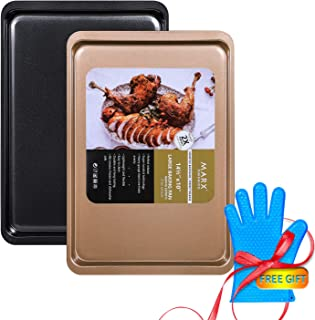 Baking Sheet Bakeware Pans Nonstick Bakeware Sheet Set Cookie Pan One black and One gold high hardness,durable,uniform heat,stylish( with a Heat resistant high temperature silicone gloves)3-Piece