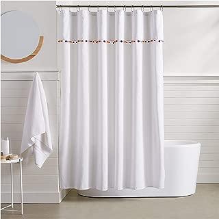 AmazonBasics Pom Pom Trim Shower Curtain - 72 Inch
