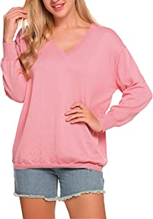 SoTeer Womens V-Neck Pullover Sweater Long Sleeve Loose Fit Knit Winter Blouse Tops